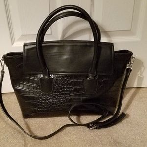 Zara Black Croc Embossed Satchel with Strap